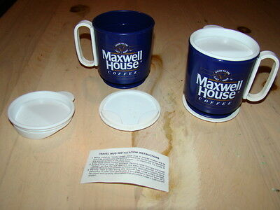 Vintage 2 Maxwell House Coffee Travel Mugs with base & Lid - by Whirley - New!