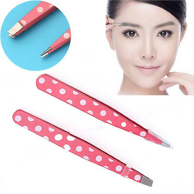 2Pcs Stainless Steel Hair Removal Eyebrow Tweezer Beauty Makeup Make UP Tools A