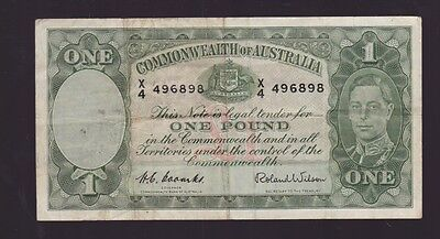 One Pound Paper Banknote Commonwealth of Australia Coombs Wilson N-569