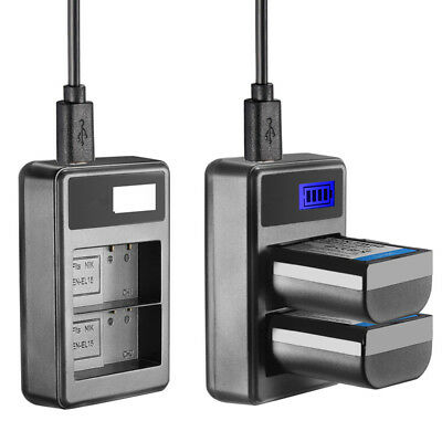USB Dual Battery Charger with LED Display for Nikon EN-EL15 Battery