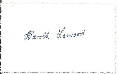 Harold Larwood England's greatest and fastest bowler signed fancy edged card