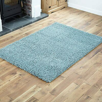 Premium Large Duck Egg Blue Shaggy High Rug Plain Pile Fluffy Thick Carpet Soft