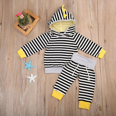 0-24 Toddler Baby Boy Girls Long Sleeve Striped Hoodies New Autumn Sweater Suit