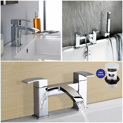 Ultra Vibe Chrome Bathroom Solid Brass Bath Filler & Shower Mixer Basin Taps