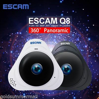 ESCAM Q8 960P 1.3MP 360° Fisheye TF Wifi IR Infrared Camera VR Night Vision