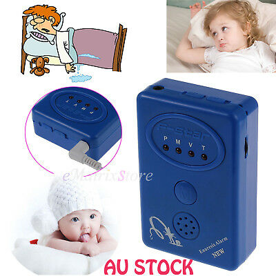 Adult Baby Bedwetting Enuresis Urine Bed Wetting Alarm Sensor With Clamp Blue OZ