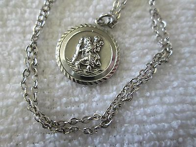 "Vintage/antique (G.j. Ltd Signed) Silver St Christopher Pendant (16"" Chain)"