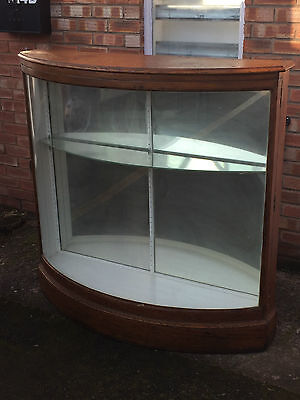 Stunning Antique Oak Bow Fronted Glass Shop Retail Haberdashery Display Cabinet