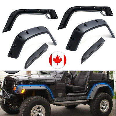 "6PCS 97-06 Jeep Wrangler TJ 6"" Wide Black Pocket Extended Fender Flares Kit CAN"