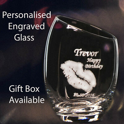 Inclined Personalised Engraved Stemless Wine Glass GIFT Birthday wedding Present