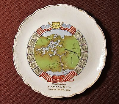 PANAMA CANAL MAP & 1915 CALENDAR PLATE, Compliments E. FRANCK CO French Gulch CA