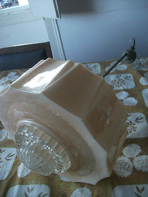 LARGE vintage ORIGINAL 1930s ART DECO  satin glass LAMP SHADE/ LIGHT FIXTURE