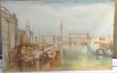 19th Century Italian impressionist watercolour of Venice signed F.Moltino