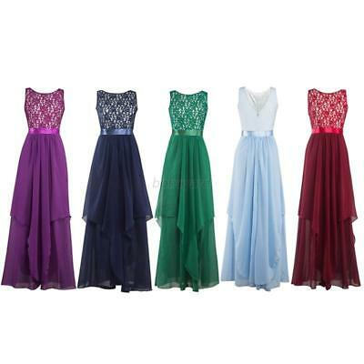 Women Lace Chiffon Evening Formal Party Ball Gown Prom Bridesmaid Wedding Dress