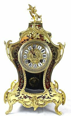 Antique French 19th c Vincenti  inlaid boulle & gilt Bronze 8 day mantel clock