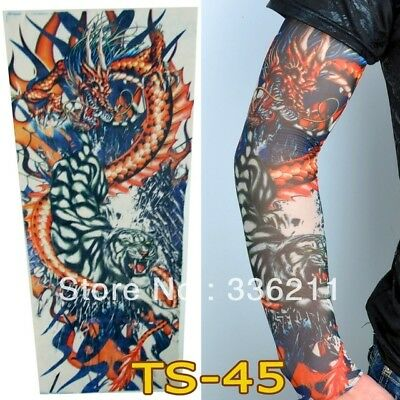 Japanese Dragon Lotus Fake Full Arm Leg Sleeve Tattoo Design Red Blue Mens