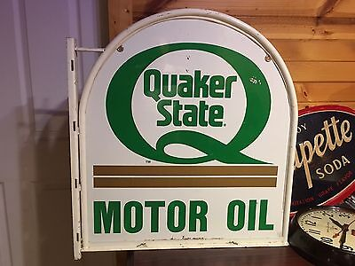 LQQK! OriGiNaL VinTaGe QUAKER STATE Motor Oil TOMBSTONE FLANGE SIGN Gas Station