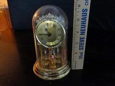 Vintage Hettich Anniversary Dome Mantle Clock Spinning Dancing Dutch People