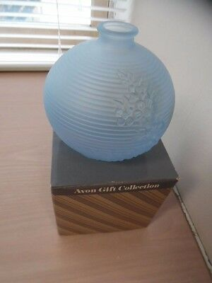 Vintage Avon Blue Violet Frosted Bud Vase in Original Box Flower Holder