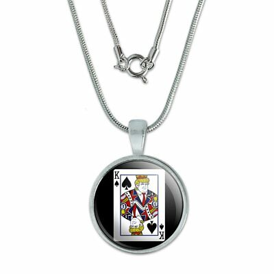"Donald Trump King of Spades Card 0.75"" Pendant with Sterling Silver Plated Chain"