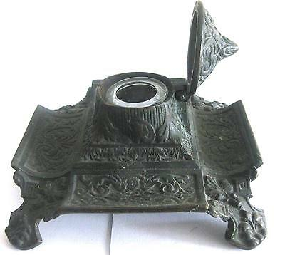 C. 1880-1890 Dark Gray Victorian  Cast Iron Ink Stand from the United States