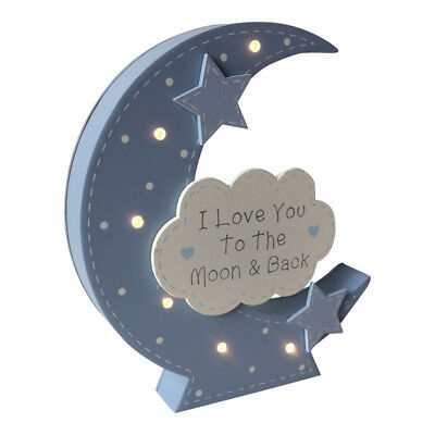 Baby LED Beleuchtung love you to the moon & Schild - nachtblau pink Junge