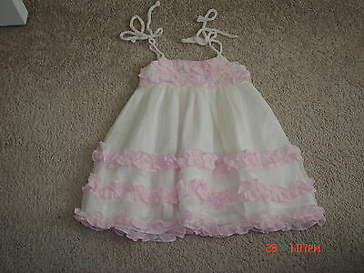 Alexandria Couture Infant Girls White Pink Ruffled Silk Dress Size 6 Months EUC