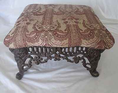Antique Cast Iron Footstool - Ornate Roses