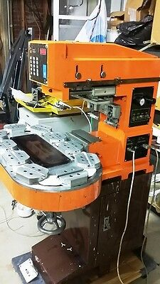 Two color Reisch & Assoc. Pad Printer machine with 10 station carousel Ink-Cup