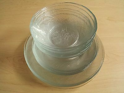 Set of Clear COCA COLA Embossed Dinner & Salad Plates & Bowls 19 Pieces NICE!