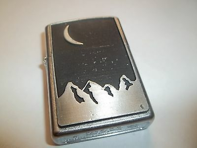 Zippo Lighter With Mountains And Crescent Moon (2000)