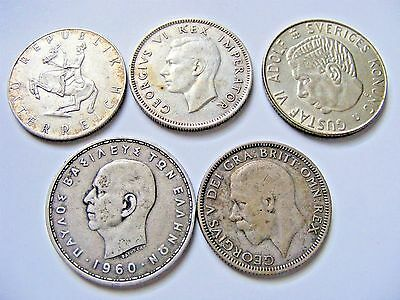 Nice Vintage lot of Foreign Silver Coins ( 5 Collectible Coins in lot)