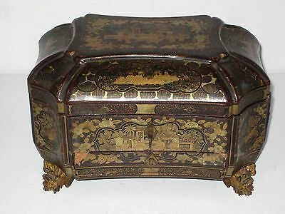 Rare 19th Century Chinese Lacquer Box for Jewelry & Valuables with Drawer & Key