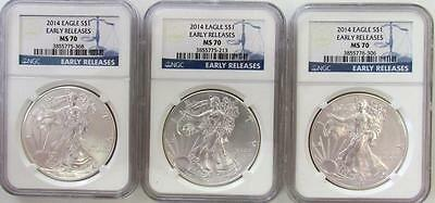 """Lot of 3 American Silver Eagles """"Early Releases"""" NGC MS70"""