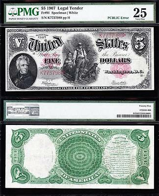"VERY NICE Bold & Crisp VF $5 1907 ""WOODCHOPPER"" US Note! PMG 25! K7737988"