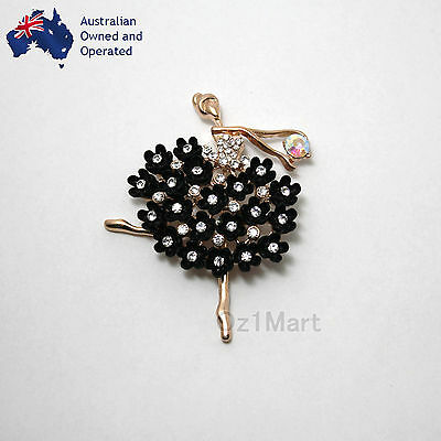NEW Fashion BROOCH Ballerina Crystal Gold Black Casual Office Pin Gift