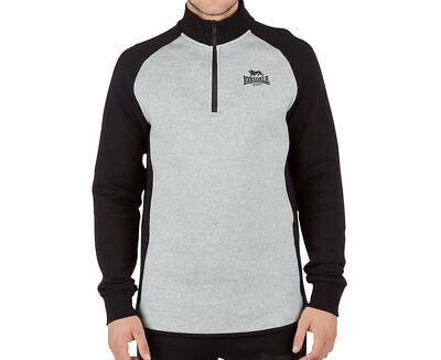 Lonsdale Men's Duncan 1/4 Zip Jacket - Black/Ash Marle
