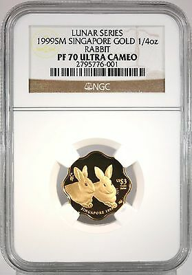 1999 Singapore Lunar Gold Rabbit 1/4oz NGC POP=1 Certified PF70 PF 70 Proof