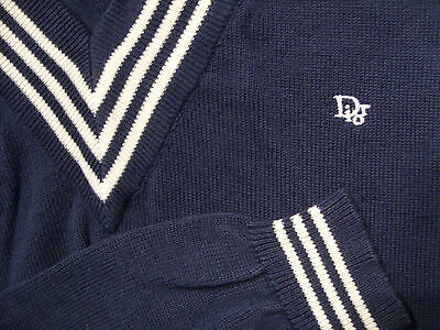 Vintage CHRISTIAN DIOR v-neck Sweater sz L Men's Navy & White Very Nice Cond WOW