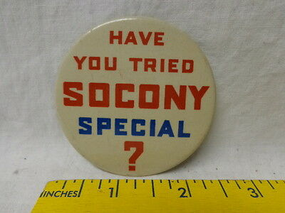 """1930's Celluloid Pinback Button, Socony Special Motor Oil (Mobil), 2.5"""", Ex"""