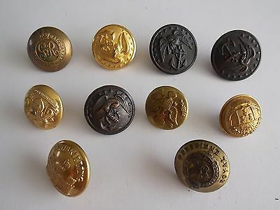 Mixed lot of 10  Vintage Brass  Military Buttons