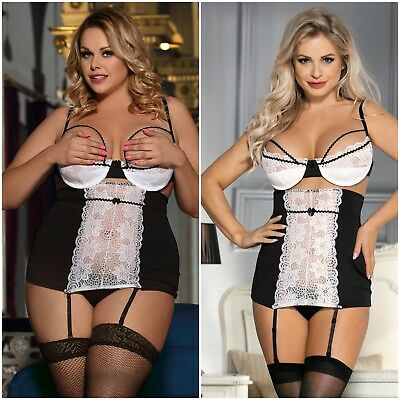 Plus Size Underwired Padded Bra Floral Lace Black White Garter Chemise Lingerie