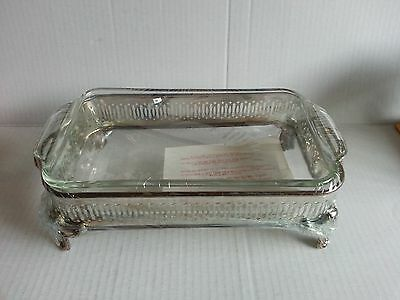 Glass Casserol with Silverplated Stand Chafer Buffet serving set NEW