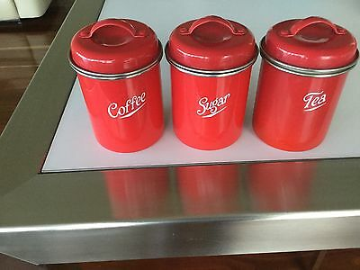 CANISTERS - SET OF 3 RETRO METAL w LINING - RETRO - RED WITH CREAM LINING
