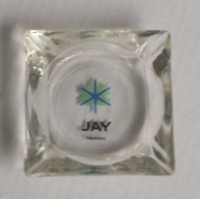 Collectible Glass Ashtray JAY VERMONT rectangular heavy glass