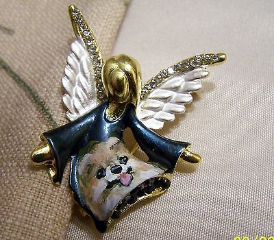 Pomeranian hand painted angel pin loaded with rhinestones