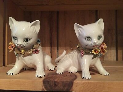 Italy White Cat Figurines - Ceramic Flowers Hand Painted
