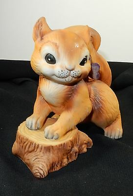 Vintage Royal Crown Squirrel on Stump with Butterfly Figurine