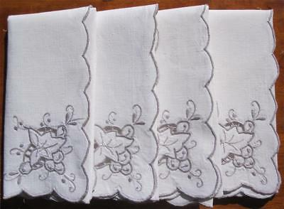 Set of Four Vintage TABLE NAPKINS Linen with Taupe Embroidery