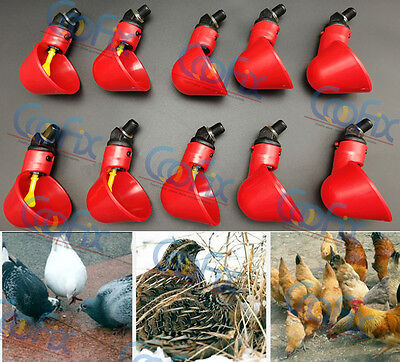 15 Pack Plastic Automatic Drinker Poultry Water Drinking Cups Chicken Hen Quail